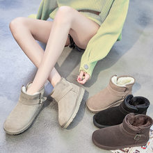 Winter Woman Ankle Boots Warm Winter Casual Shoes Flats Snow Boots Suede Platform Bukle Boots big size 35-43 Botas Mujer O4-88(China)
