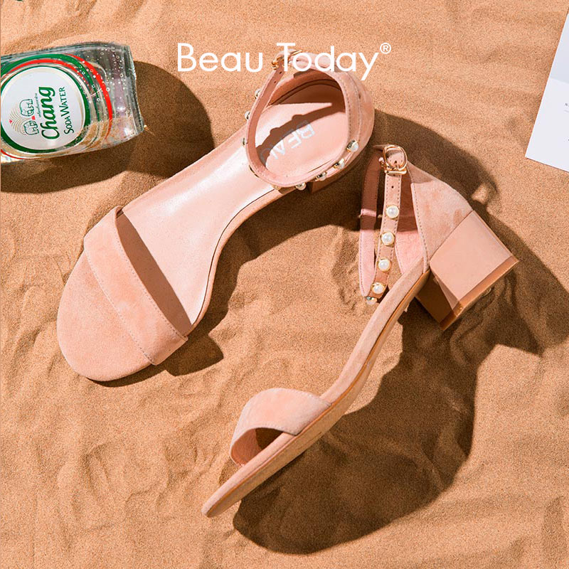 BeauToday Sandals Women Kid Suede Leather Pearl Detail Cover Heel Buckle Strap Ladies Summer Med Heel Shoes Handmade A31036