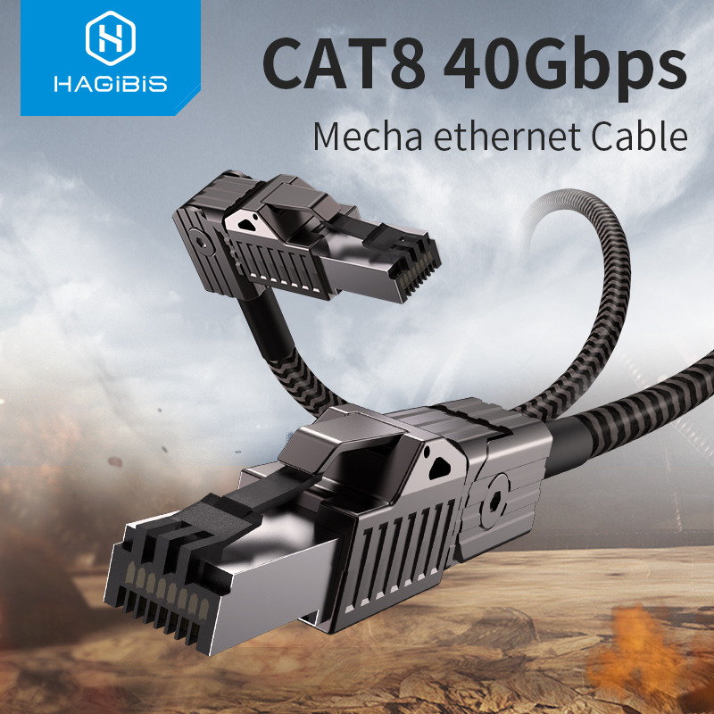 Hagibis Cat8 Ethernet Cable Super Speed RJ45 Network Cable 40Gbps Patch Cord S FTP Cat 8 lan with Alloy Connector for Router PC