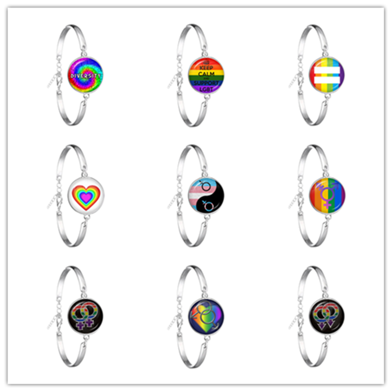 2019 New Arrival Lesbian Gay Pride Earrings Colorful Rainbow Round Glass Dome Stud Earrings For Women Lgbt Jewelry Accessories,13,Bronze Color