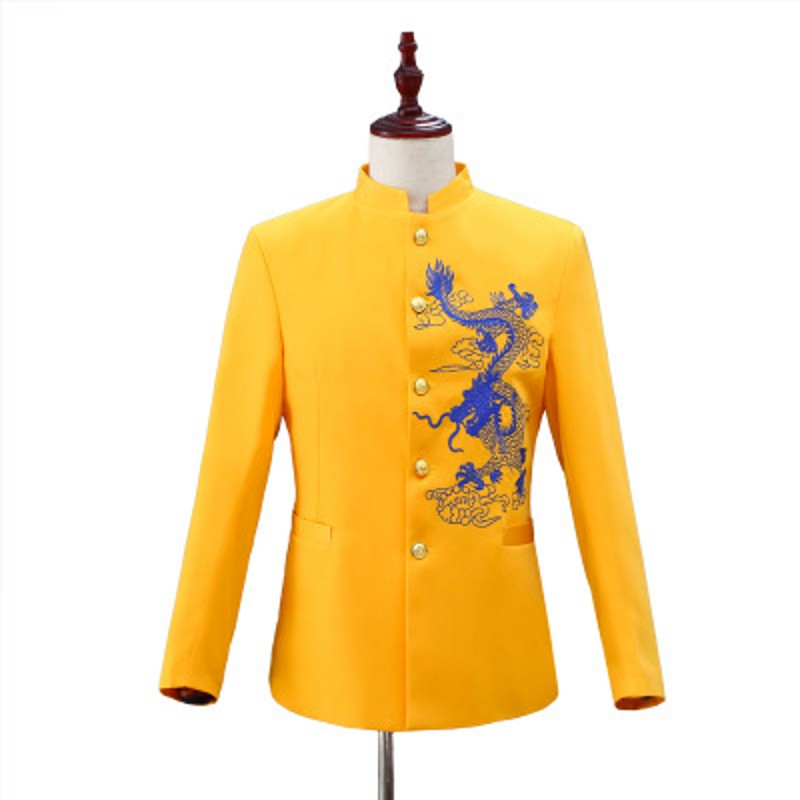 Embroidered Dragon Men Suit Blazer 2 Pieces Set Chinese Tunic Suit Yellow Coat Outfit Stage Performance Chorus Group Host Jacket