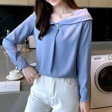 Женская шифоновая блузка в Корейском стиле белая с длинным рукавом