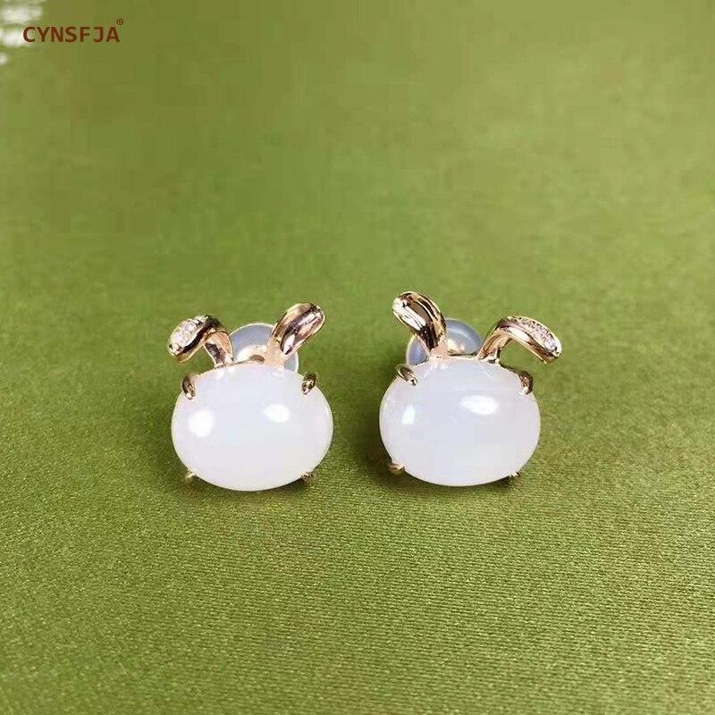 Nouveautés mouton-gros Jade certifié naturel Hetian blanc Jade incrusté de 18K or Jade boucles d'oreilles de haute qualité merveilleux cadeaux