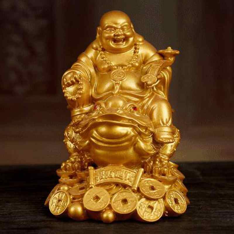 Laughing Chinese Feng Shui Buddha Wealth Toad Jin Chan Chu Money Luck Prosperity 4.5x7.2cm QDD9782