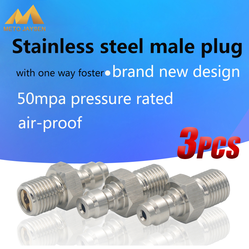 Stainless Steel 8MM M10x1 Male Plug Adapter Fittings PCP Airforce Paintball Pneumatic Quick Coupler 3pcs/set
