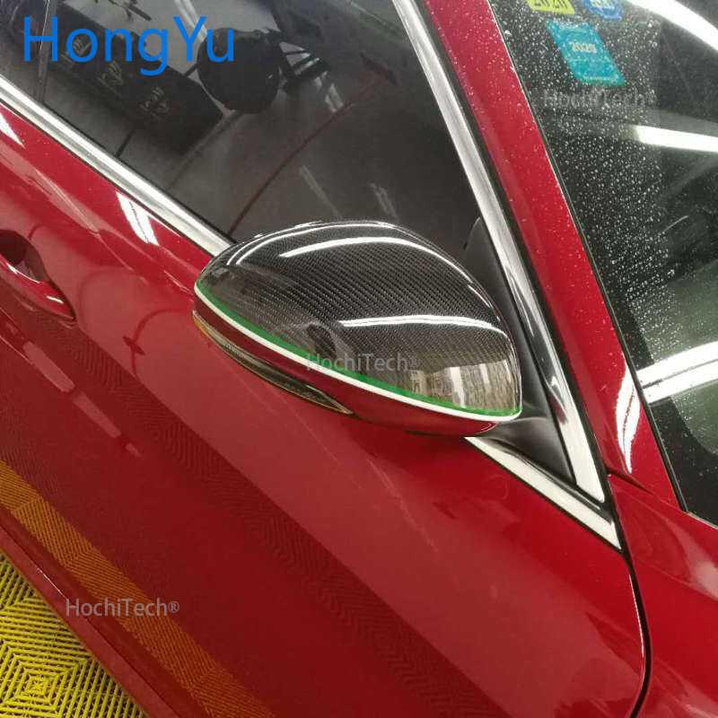 ل ألفا روميو جيوليا 2015-2019 ريال ألياف الكربون إضافة على سيارة الرؤية الخلفية مرآة الرؤية الجانبية غطاء غطاء قبعات شل العلم الإيطالي نمط