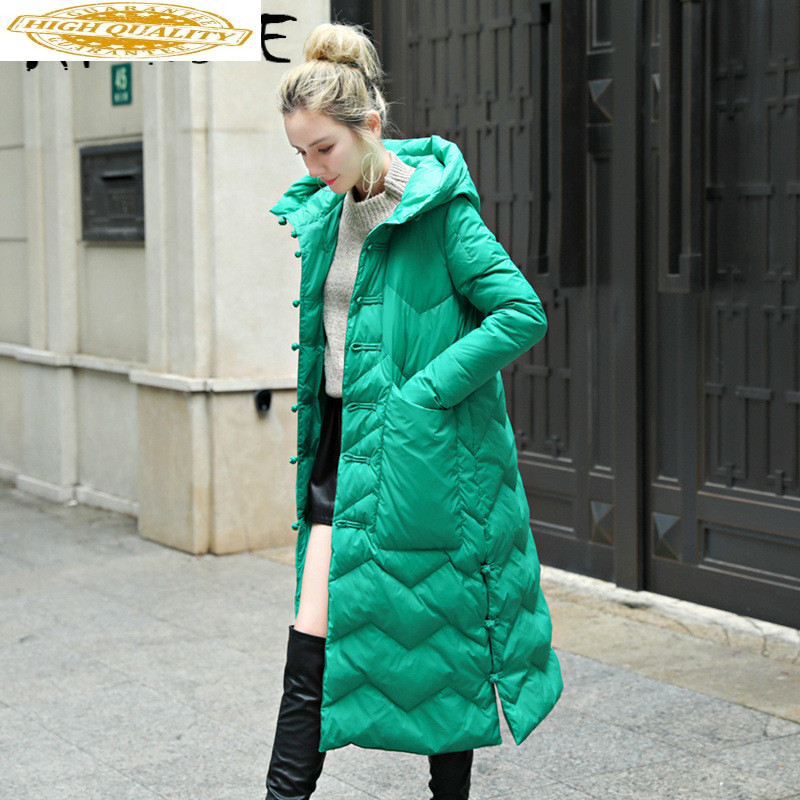 2020 New Puffer Jacket Women White Duck Down Winter Coat Women Jacket Hooded Vintage Warm Parka Long Veste Femme YY1539