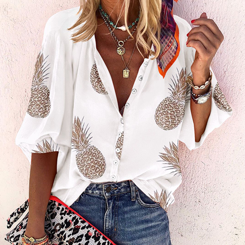 3XL Pineapple Print Blouses Woman Sexy V-Neck Button Long Sleeve Shirt Spring Womens Clothes Elegant Tops Blusas Plus Size G1131