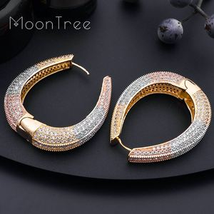 Image 4 - MoonTree Big Earrings Big Wide Circle Full Micro Cubic 3Tone Color Copper Pave Setting Ladies  Earrings Jewelry  Bijoux