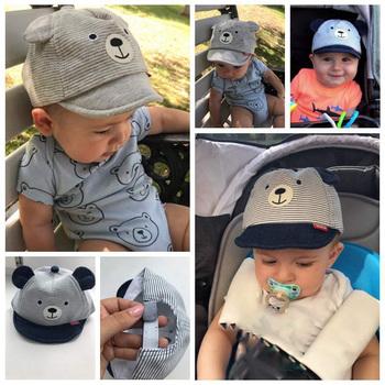 Kreskówka niedźwiedź czapka dla niemowląt czapka letnia wiosna regulowana czapka z daszkiem śliczne paski bawełna dzieci kapelusz słońce Baby Boy dziewczyna czapki z uszami tanie i dobre opinie I LOVE DADDY MUMMY CN (pochodzenie) COTTON Adjustable Boys baby W paski 4-6 miesięcy 7-9 miesięcy 10-12 miesięcy 13-18 miesięcy
