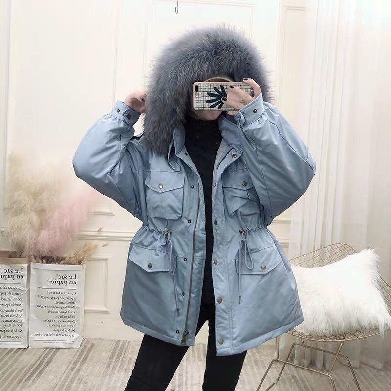 White Duck Down Jacket Women Korean Winter Coat Women Down Coat Real Raccoon Dog Fur Collar Puffer Jacket Parka YY1518