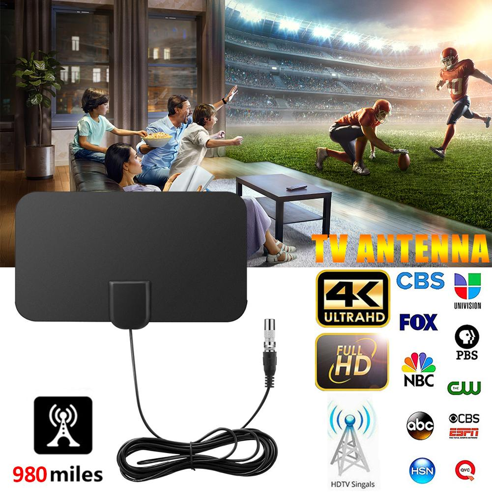 980 Miles HD TV Antennas Indoor Mini Digital Antenna With Amplifier Signal Booster TV Radius Surf Fox Antena HD TV Antennas