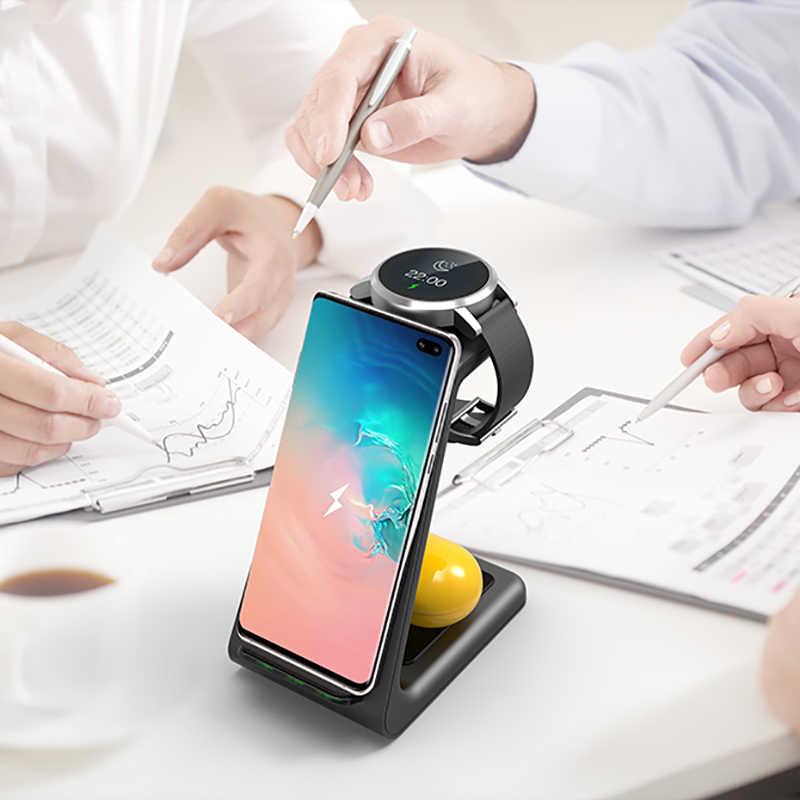 Cargador inalámbrico QI 3 en 1 para Samsung S10 Plus 10W cargador rápido Estación de soporte de muelle inalámbrico para Samsung Watch Galaxy Buds