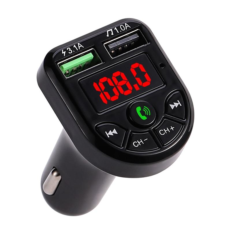 Новый светодиодный fm-передатчик Bluetooth 5,0 автомобильное зарядное устройство с двумя usb-портами 3.1A 1A 2 порта USB MP3 музыкальный плеер sup порт TF/U ди...