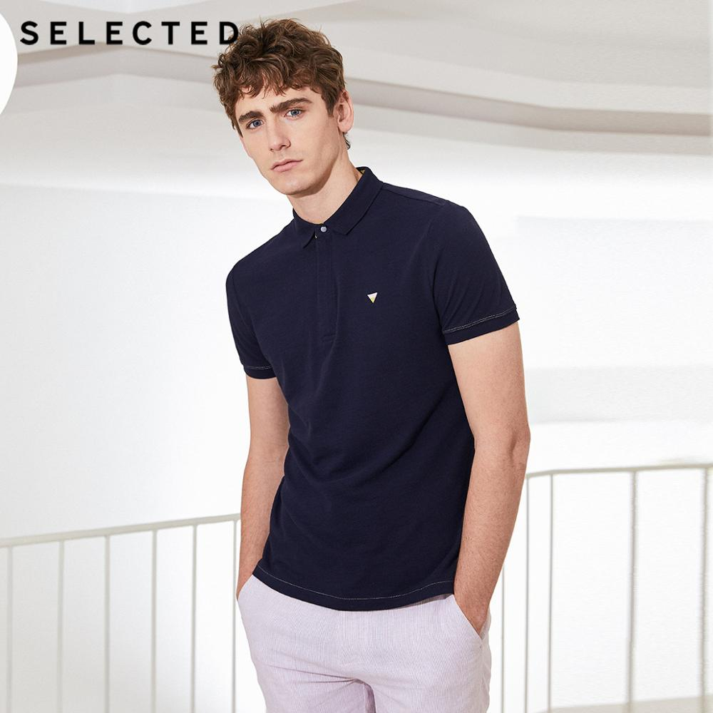 SELECTED Men's Turn-down Collar Pure Color Short-sleeved Poloshirt S|419206528