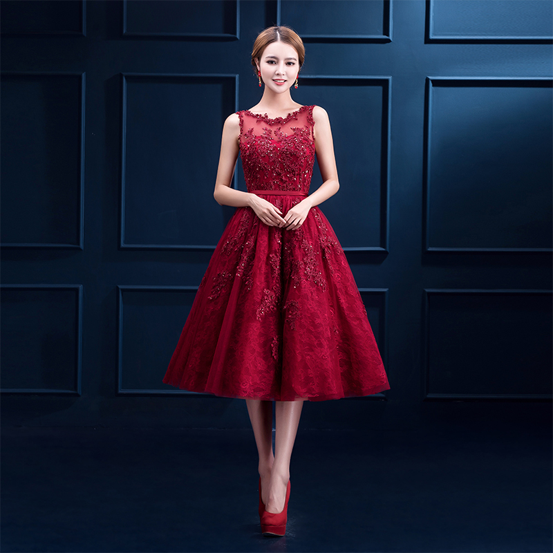 2020 New Arrival A Line Scoop Sequins Appliques Cheap Short Party Dress Vestido De Festa Curto Sleeveless Red Homecoming Dresses
