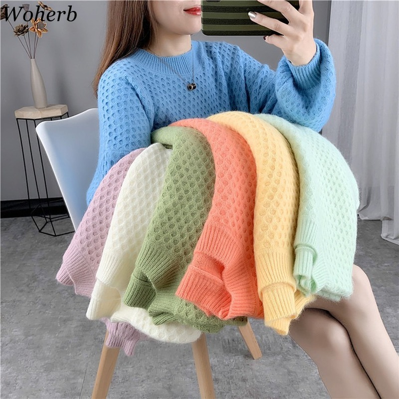 Woherb Knitted Pullover Sweater Women Autumn Winter Casual Loose Candy Color Sweaters 2020 Cute Kawaii Knitting Jumper Pull