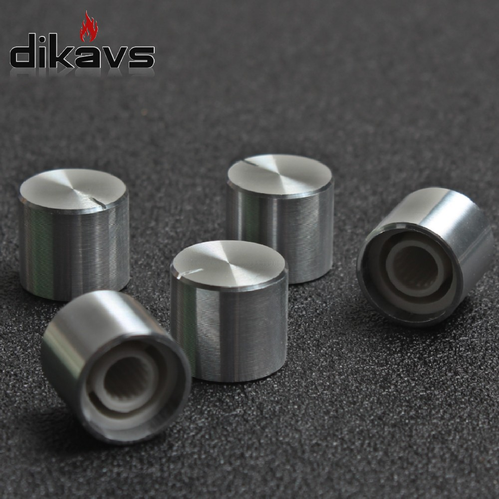 5pcs  Rotary Encoder Potentiometer Knob 6mm Shaft Volume Switch Small Knob 15 X13mm - Silver