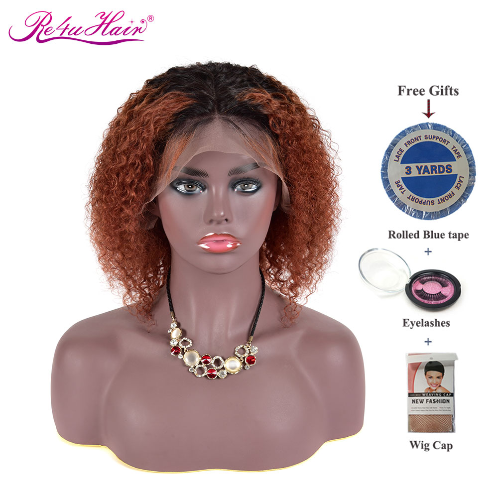 Re4U Hair Curly Lace Front Human Hair Wigs Ginger Orange Red 150 Density Lace Front Wig Pre Plucked Bleached Knots 13x4 13x6 Wig