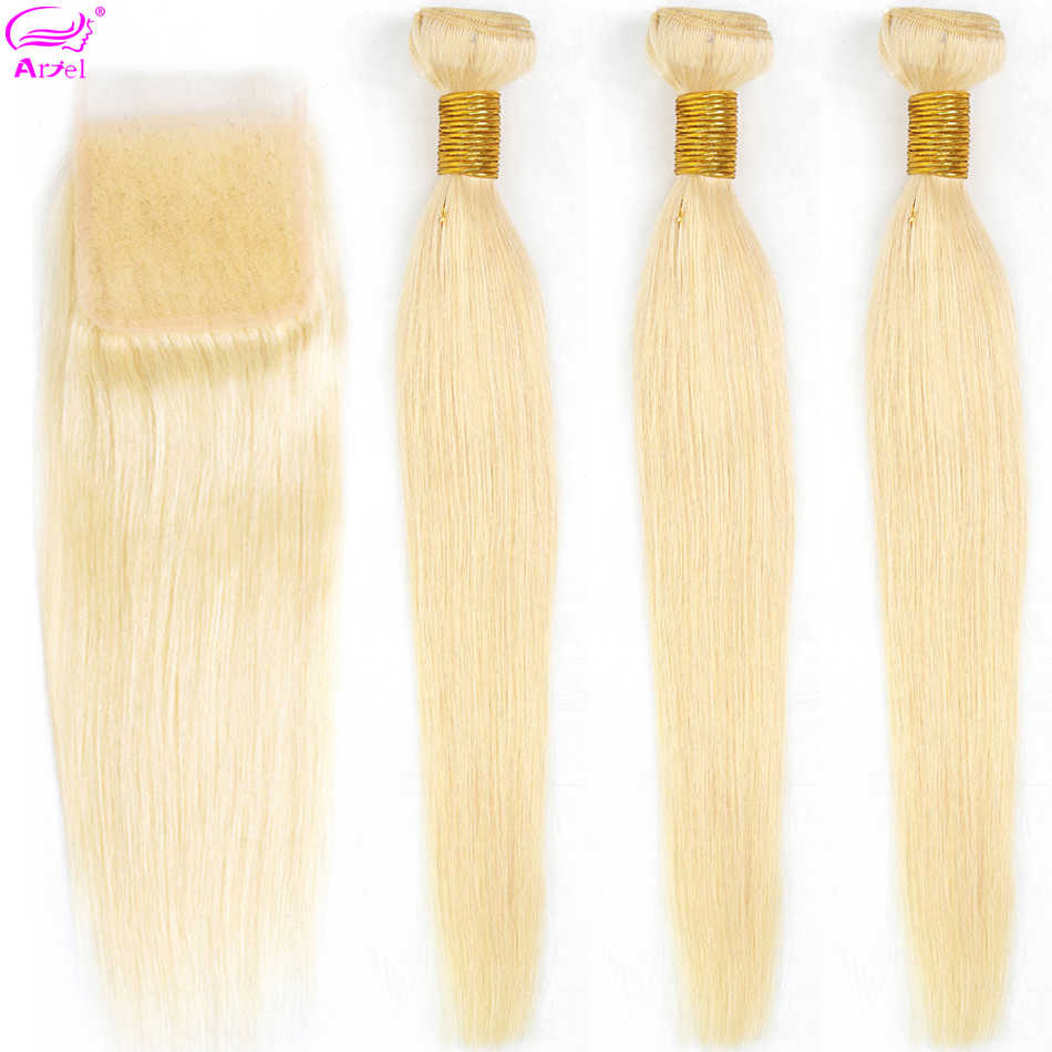 Straight 613 Blonde Bundles With Closure Brazilian Hair Weave Bundles With Closure Remy Human Hair Bundles With Closure Ariel