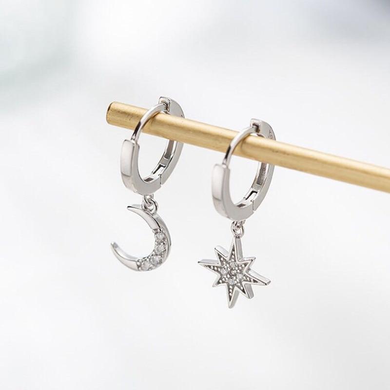 Dominated New 2019 Contracted Asymmetric Crystal Star Fashion Drop Earrings Delicate Joker Moon Style Women Earrings Jewelry