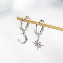 Dominated new 2019 personality asymmetric crystal Star fashion Drop earrings Delicate joker Moon style Women earrings Jewelry(China)