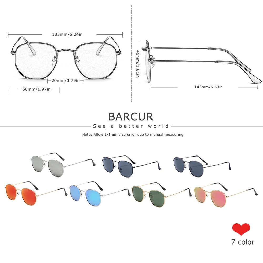 Classic Retro Reflective Sunglasses Man Hexagon Sunglasses Metal Frame Eyewear Sun Glasses Silver