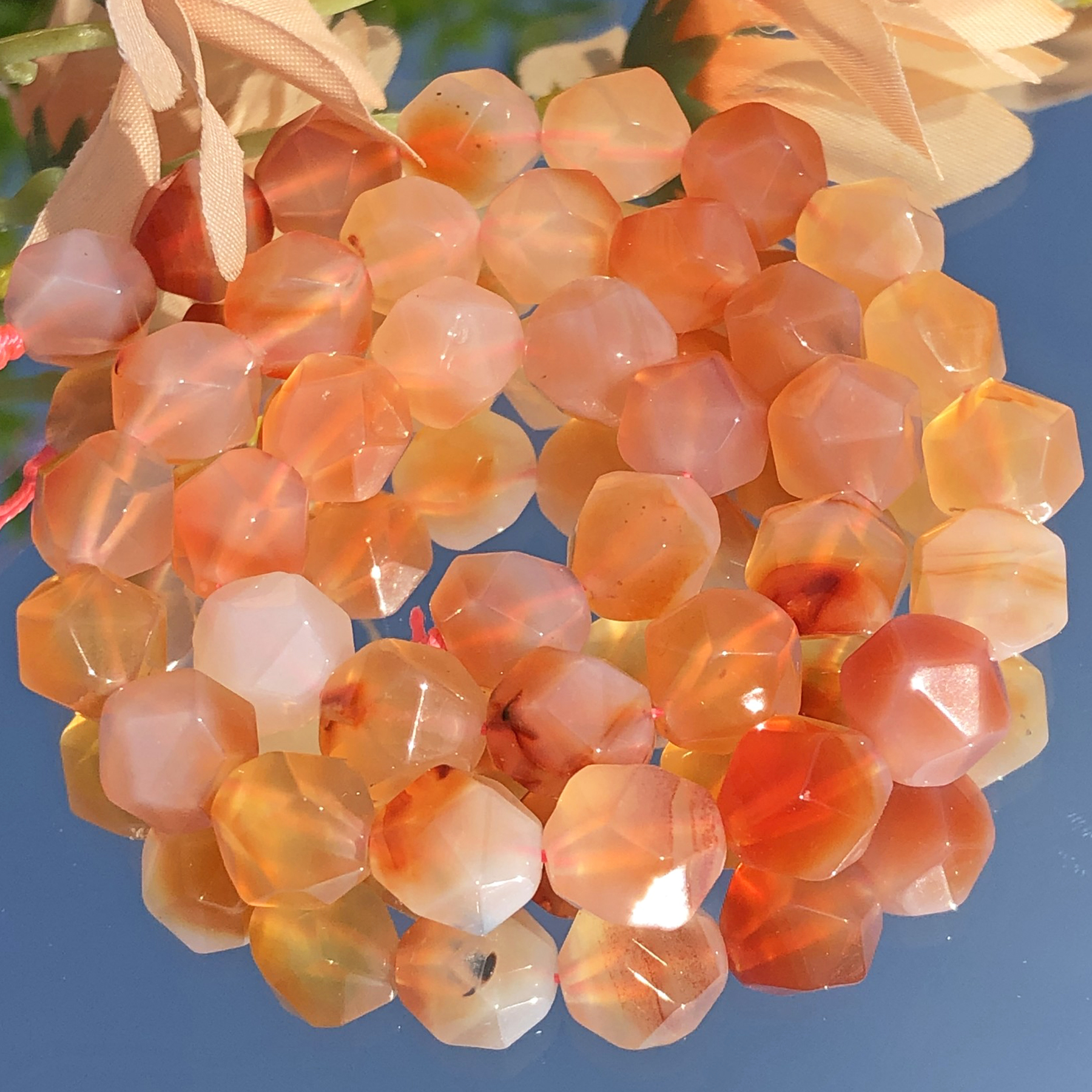 AAA Natural Faceted Orange Red Agates Onyx Stone Bead Round Loose Spacer Beads for Jewelry Making DIY Bracelet Necklace 6/8/10mm