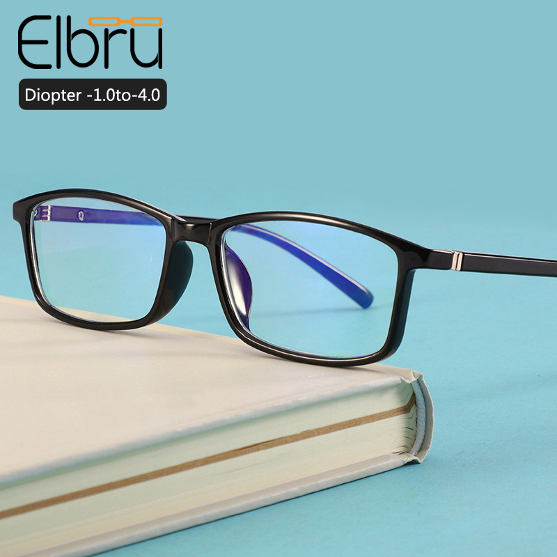 Elbru Classic Anti-blue Light Myopia Eyeglasses Men Women  Shortsighted Nearsighted Eyewear -1.0 -1.5 -2.0 -2.5 -3.0 -3.5 -4.0
