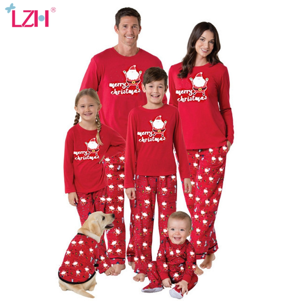 LZH New Family Christmas Pajamas Matching Clothes Girls Family Matching Outfits Suit for Father Mom Daughter Son Clothing Sets