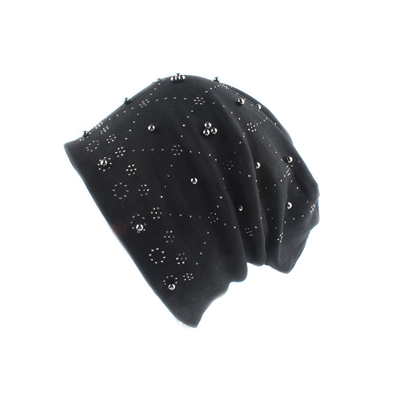 2019 Fashion Solid Color Women   Skullies     Beanies   Pearl Rhinestone Winter Hat Female Ladies Autumn Slouchy   Beanie   Soft Cotton Hat