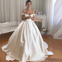 Off Shoulder Wedding Dresses Satin A line Cheap Wedding Dress Pleated Buttons Bridal Gown With Free Wedding Veil