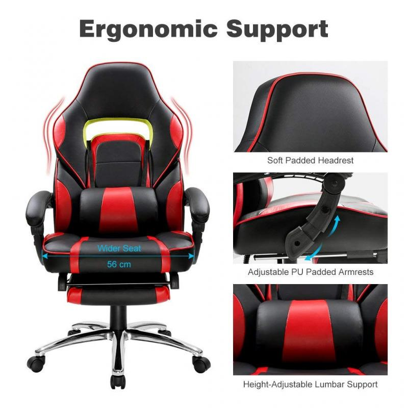 Ergonomic Computer Gamer Chair Home Cafe Chair With Footrest Height-Adjustable Design Office Chair Furniture HWC
