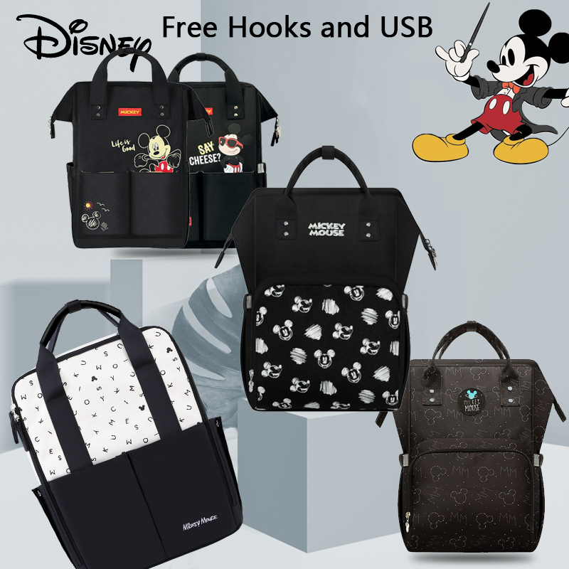 Disney Diaper Bag Mickey Backpack For Mommy Baby Bag Maternity Baby Care Nappy Bags Travel Stroller Send Free Hooks USB Heating