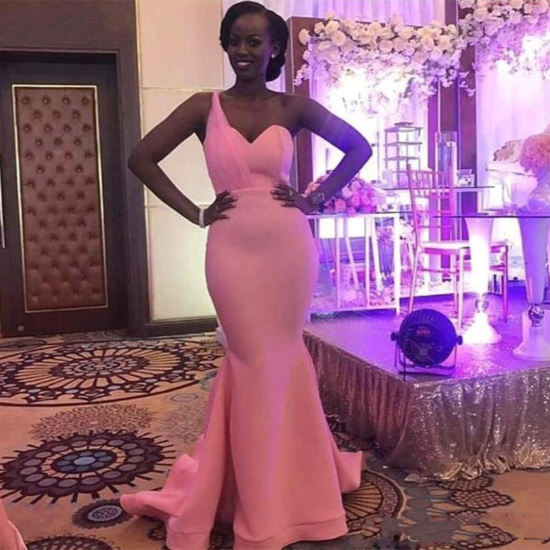 Vestidos De Fiesta Black Girl Pink One Shoulder Mermaid Prom Dresses Party Evening Gowns Sweep Train South African Long Dress