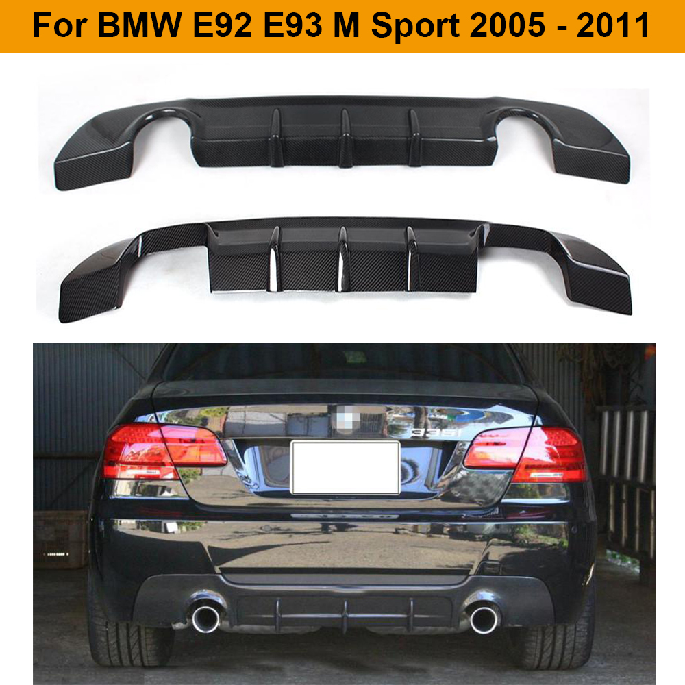 Carbon Fiber Rear <font><b>Bumper</b></font> Diffuser Lip Spoiler for BMW <font><b>E92</b></font> E93 M Sport Coupe Convertible Only 2007 - 2013 image