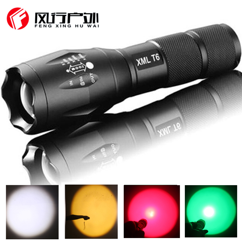 Waterproof LED Flashlight Portable Torch 5 Emittings Color White Yellow Green Red Lights Self Defense Tactical Flashlight