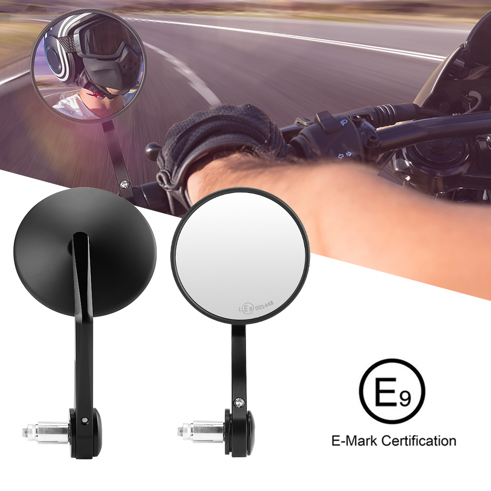 For Bmw R1200gs Adventure Cafe Racer Bar End Mirrors CNC E-mark Motorcycle Round Mirrors For Yamaha Mt09 Mt07 For Vespa Z900rs