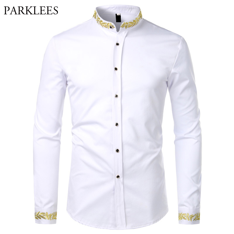 Gold Embroidery White Shirt Men Brand New Stand Collar Mens Dress Shirts Casual Slim Long Sleeve Chemise Homme Camisa Masculina