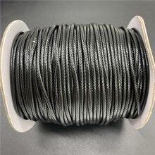 0.5mm 0.8mm 1mm 1.5mm 2mm czarny woskowany przewód bawełniany liny woskowana nić przewód ciąg pasek sznur naszyjnika do tworzenia biżuterii