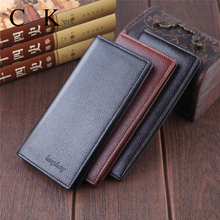 new men long Genuine Leather wallets business credit card Lu