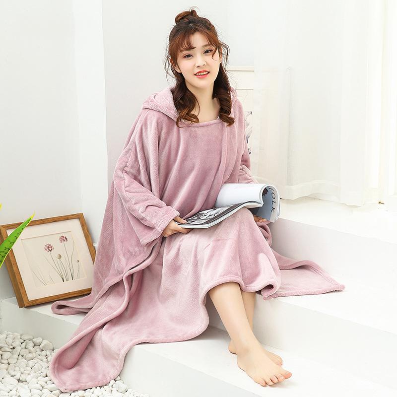 Winter Thick Sofa Comfy TV Blanket Hoodie Sweatshirt Weighted Throw Blanket Fuzzy Fleece Plaid Blanket Fleece Blanket Adult Kids 10