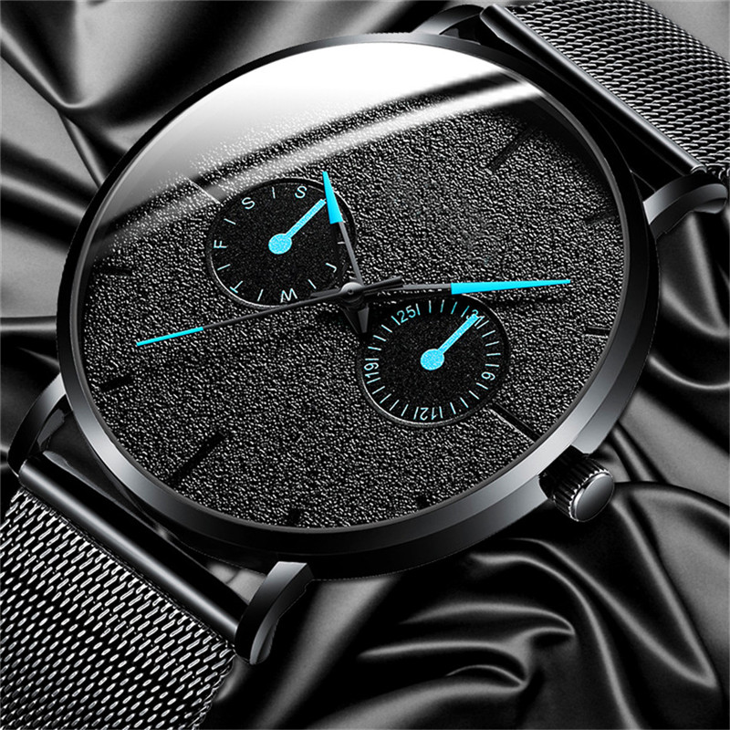 Fashion Mens Business Minimalist Watches Luxury Black Calendar Quartz Watch Stainless Steel Mesh Band Analog Clock Montre Homme