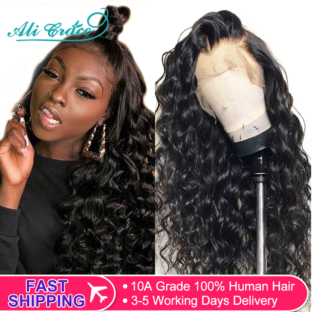 $ US $60.06 Ali Grace Hair Wig Brazilian Loose Wave Lace Front Wig 250% Density 360 Lace Frontal Loose Wave Wig Pre-plucked with Baby Hair