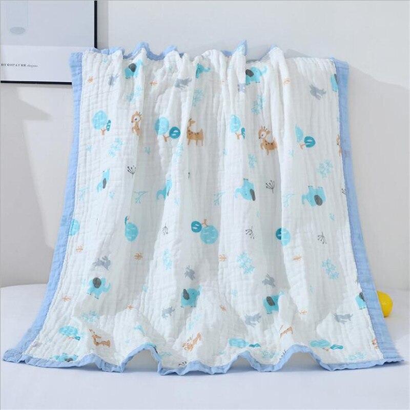 6 Layers Super Soft Multi-usage Cotton Muslin Blanket Baby Swaddle Blanket Seersucker Kids Blanket Bath Towel Baby Blanket