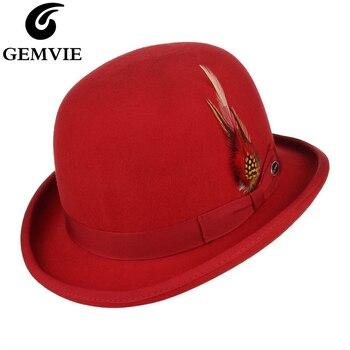 GEMVIE 100% צמר הרגיש נוצת דרבי Bowler כובע לגברים/נשים סאטן מרופד אופנה המפלגה פדורה פורמליות תלבושות קוסם כובע