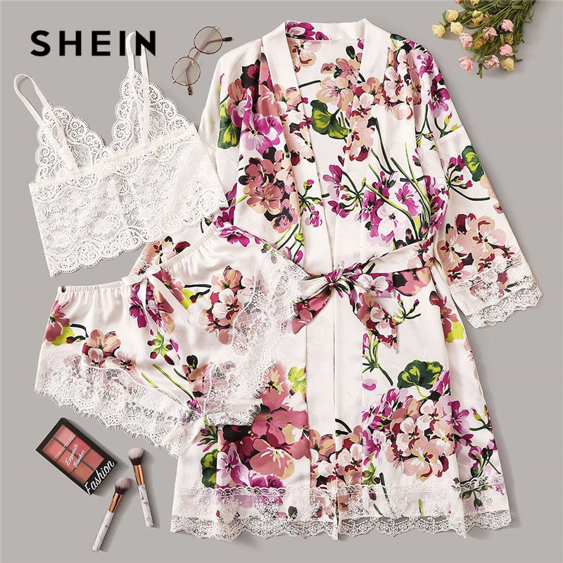 SHEIN Multicolor Floral Lace Bralette With Satin Shorts And Belted Robe Set Women Sleepwear Sexy Lingerie Sets