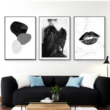 Marble Texture Canvas Poster Geometric Picture Painting Female Wall Art Print Nordic Pictures For Bedroom
