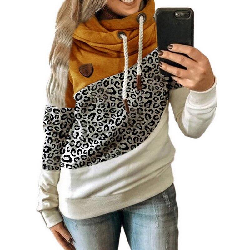 2020 Women  Autumn Winter  Gradient Patchwork Hooded Sweatshirt Women Drawstring Long Sleeve Harajuku  Pocket Hoodie Tops 16