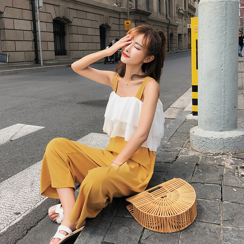 Customizable [dowisi]  Summer Korean-style Top Shirt With Narrow Straps + High-waisted Loose Pants Two-Piece Set F6618